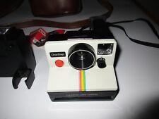 Vintage Polaroid SX-70 One Step White Rainbow Stripe Land Camera, ITT Magicflash