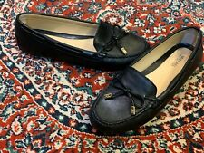 MK MICHAEL KORS DAISY BLACK LEATHER GOLD BOW MOCCASIN DRIVER SLIP ON 7.5 38 M LN