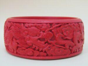 Ornate Dragon Carved Cinnabar Bangle Bracelet