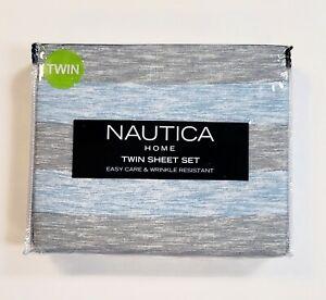 Nautica Home 3-Piece Twin Sheet Set Becker Blue & Gray Heather Stripe Easy Care