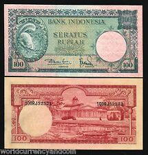 INDONESIA 100 RUPIAH P51 1957 SQUIRREL ANIMAL SERIES UNC CURRENCY MONEY BANKNOTE