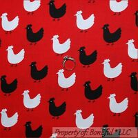 BonEful FABRIC FQ Cotton Quilt Red Black White B&W S Chicken Kitchen Rooster Hen