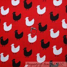 BonEful FABRIC FQ Cotton Quilt Red Black White B&W S Chicken Kitchen Rooster Hen