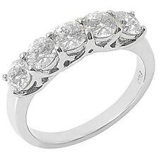 1.5 CARAT WOMENS BRILLIANT ROUND 5-STONE DIAMOND RING WEDDING BAND WHITE GOLD