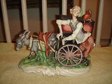 Vintage Marbro Italian Organ Grinder Musical Figure-Signed & Stamped-Donkey Cart