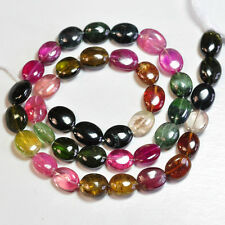 """Pink Green Tourmaline Smooth Oval Nugget Beads 14"""" strand"""