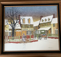 H. Hargrove Winter Town Scene Painting w/General Store Coach Inn Signed & Framed