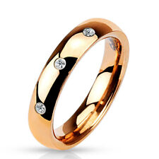 4mm 3 Clear Cz Set Classic Dome Rose Gold Ip 316L Stainless Steel Wedding Band