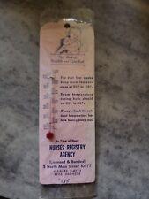 Vintage Nurses Registry Agency Advertising Baby Thermometer - New York