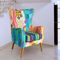 Armlehn Stuhl Stoff bunt Sitzmöbel Patchwork Wohn Zimmer Ohren Fernseh Sessel