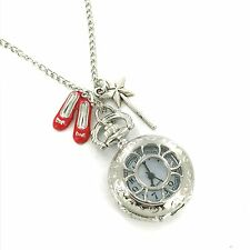 Wizard of Oz pocket watch. Ruby Slippers and Wand charms Necklace sil