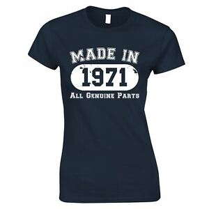 50th Birthday Womens TShirt Made in 1971 All Genuine Parts Distressed Gift Tee
