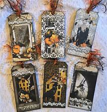 Halloween~Olde Crow~6 Large Hang Tags~Scrapbooking~Cards~#120~judysjemscrafts