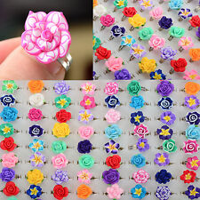50/30Pcs Wholesale Lots Children Kids Party Finger Rings Cute Mixed Polymer Clay