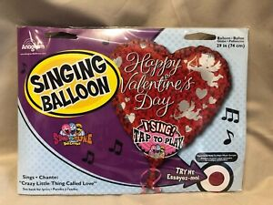 """Happy Valentine's Day 29"""" Singing Balloon Sings """"Crazy Little Thing Called Love"""""""