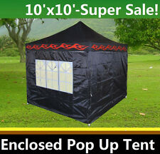 10'x10' Enclosed Pop Up Canopy Party Folding Tent Gazebo - Black Flame - E Model