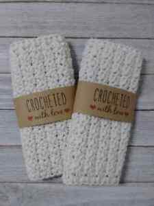 spa crochet facial bath wash cloth set reusable off white cream handmade