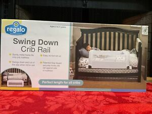 Regalo Swing Down Crib Bed Rail Reinforced Anchor Safety System Lightweight