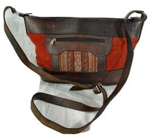 Great Vintage Red Suede and Brown Leather Trim Crossbody Shoulder Bag