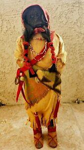"""Antique Apple Head SKOOKUM Indian Doll 16"""" Bully Good Foot Sticker ca. 1939 RARE"""