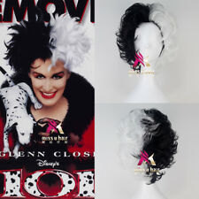 101 Dalmatians Cruella De vil Short Curly Black and White Hair Moive Cosplay Wig
