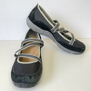Dansko Womens Hilda Black Mary Janes Size 41 Suede Canvas Athletic Upgraded Sole