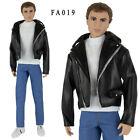 ELENPRIV Black leather biker jacket for Ken Fashionista and similar dolls