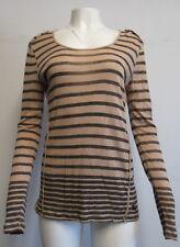 BURBERRY BRIT tan/black long sleeve striped tunic SZ M/L