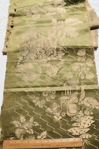 """Antique 19thC French Chinoiserie Patterned Green Silk Fabric~131""""X17"""""""