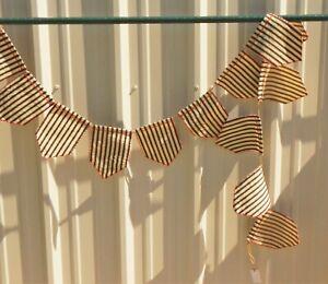 "Creative Co-Op XM3388 96""L Cotton Striped Flag Garland Black w/ Red Stripe"