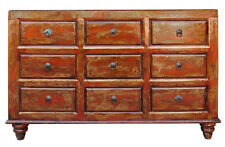Chinese Distressed Orange Brown 9 Drawers Dresser Cabinet cs1977