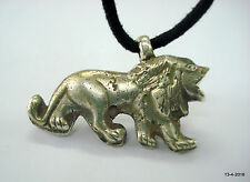 lion pendant necklace solid vintage antique collectible old silver