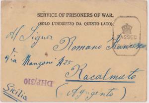 WW2 1944 ITALIAN POW AT BRITISH POW CAMP INDIA POSTCARD POSTED TO SICILY 74*