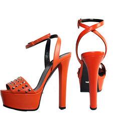 6.5 8.5 NEW $795 GUCCI Leila Orange Studded Platform Leather ANKLE STRAP SANDALS