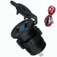 5V 4.2A Dual USB Charger Socket Adapter Power Outlet 12V-24V For Car/Motorcycle