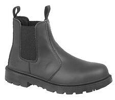 Mens Size 10 13 Plain Black Leather Safety Toe Cap Slip on Chelsea Dealer BOOTS UK 10