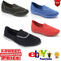 LADIES WOMENS GIRLS FLEXI PUMPS PLIMSOLLS COMFORT WALKING SPORTS TRAINERS SHOES