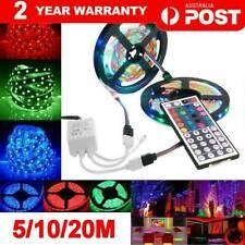 RGB LED STRIP LIGHTS IP33 3528 5/10/20M 60LEDS/M 12V+44 KEY IR CONTROLLER AU 🔥