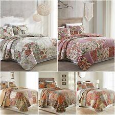 Chezmoi Collection 3pc Floral Reversible Patchwork 100% Cotton Vintage Quilt Set