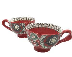Anthropologie Elka Ayaka Footed Pedestal Coffee Tea Cup Mug Twisted Handle Red