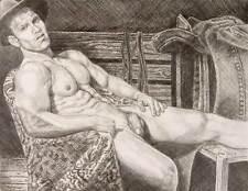 "9"" x 12"" drawing print nude male cowboy reclining in barn gay interest"