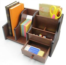 Wooden Desk Organizer Office Supplies Accessories Storage Drawer Book Pencil Pen