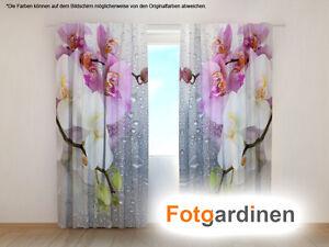 """Fotogardine """"Orchidee"""" Gardine mit Motiv Digitaldruck, Vorhang bedruckt, auf Maß"""