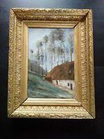 Rare tableau peintre impressioniste Normandie Académie d'Yport bel état 1885