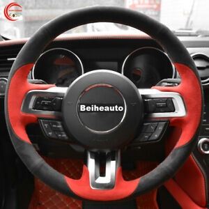 Red Suede Black Suede Car Steering Wheel Cover for Ford Mustang 2015-2020