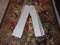 Women's athletic pants. Divine. Size Large. Gray w/blue stripes. Cotton.
