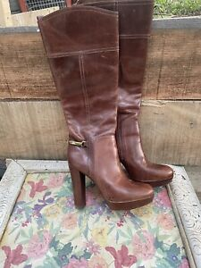 Tory Burch Women's Mahogany Brown Leather Tall Riding Boots Chunky Heel Size 9.5