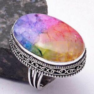 Rainbow Solar Quartz Handmade Antique Design Ring Jewelry US Size-10 AR 38553