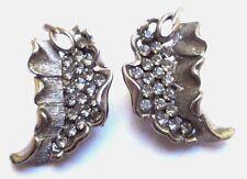"""boucles d'oreilles clips ancien bijou vintage couleur argent signé """"BSK"""" 38"""
