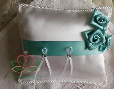Cuscino portafedi in raso bianco con rose fatte a mano strass * cuscinetto fedi